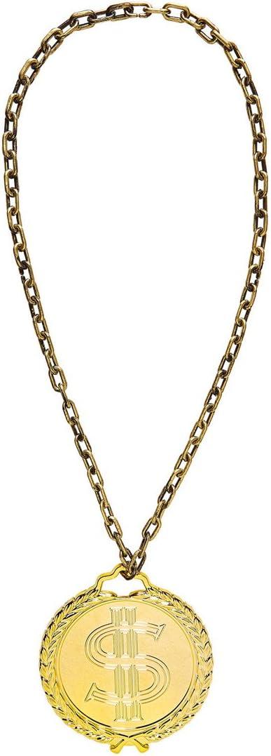 Amakando Collar de Rapero - 58 cm | Collar de Gángster Dorado ...