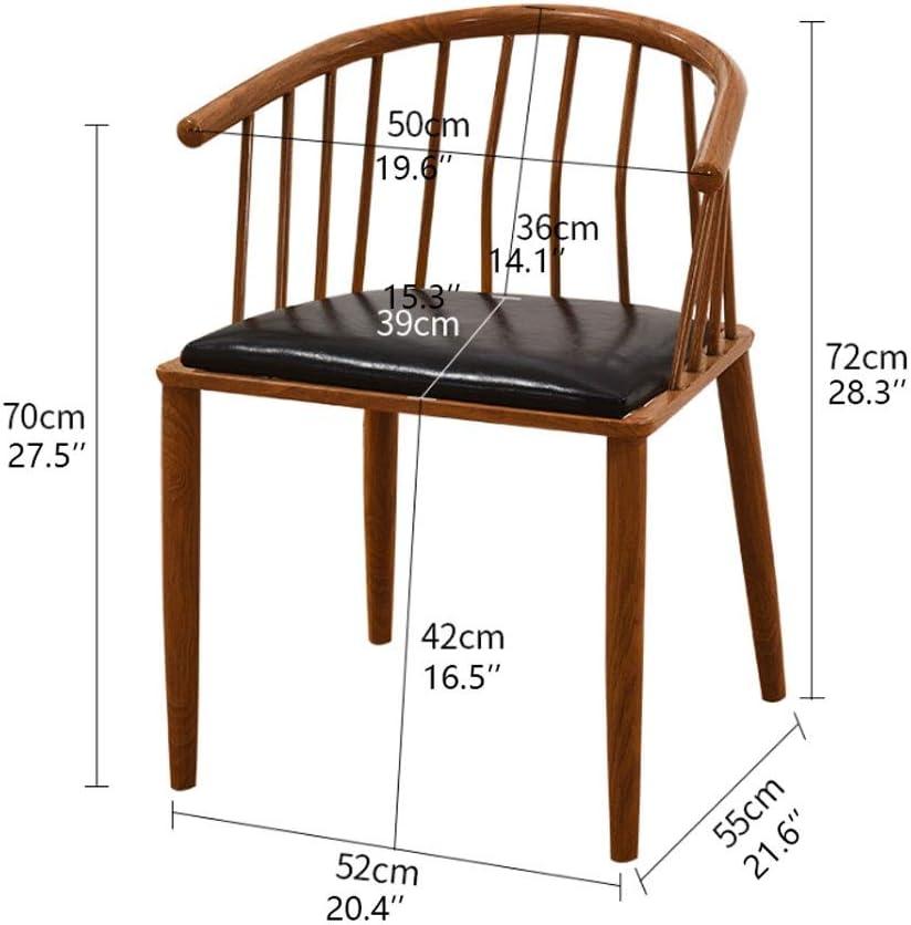 2pcs Suave y Confortable Silla de Cuero Simple de Hierro de la Pierna Sillas de Comedor Leche Tea Shop Comedor sillas de Comedor for el hogar (Color : Brown-B) Red-b