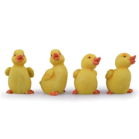 Wonderland Poly Resin Mini Miniature Garden Ducklings (Yellow, 2-inch) - Set of 4