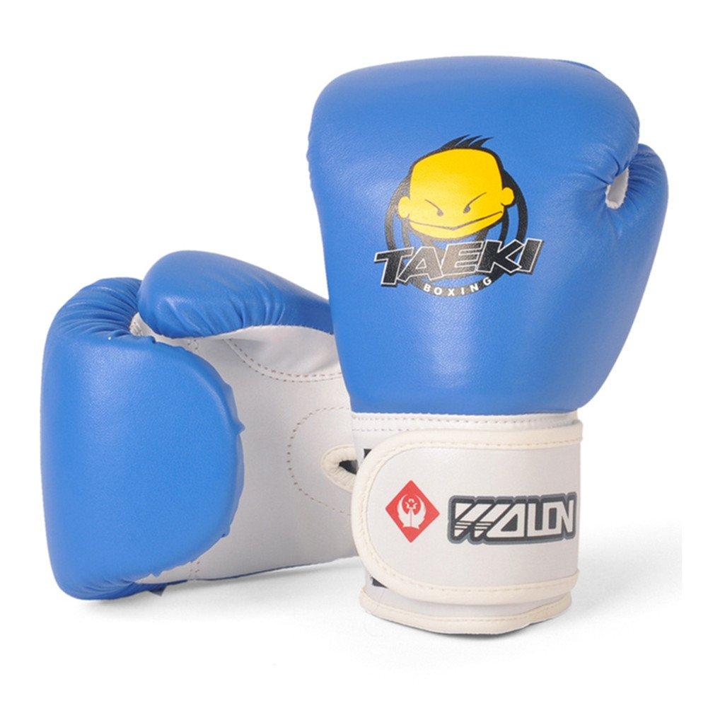 ボクシンググローブキッズ6オンスPUレザーMittsのトレーニング、Grappling、パンチバッグ、指なしキットfor Age 5 – 12歳ガールズボーイズ(ピンク/レッド/ブルー/グリーン/オレンジ、1ペア) ブルー