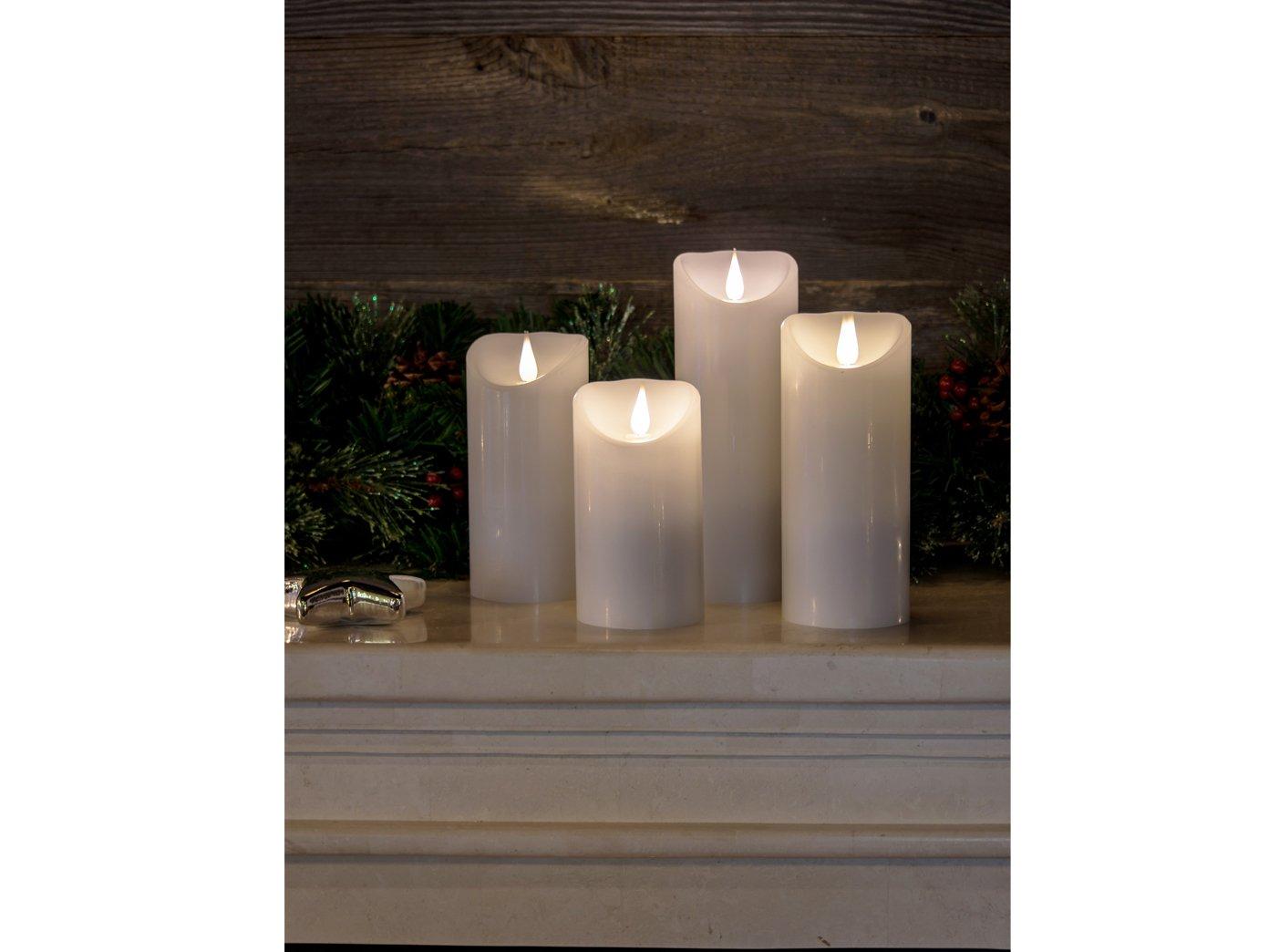 4er Set LED Echtwachskerzen mit 3D Flamme & 4 8h Timer, Ø 7,5cm, Höhe 13,5 15,5 17,5 21,5cm, Batteriebetrieb  jeweils 2x C 1,5W (exkl.)