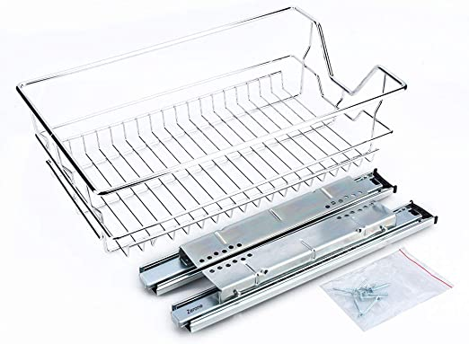 Yosoo Pull Out Chrome Wire Storage Basket Drawer for Kitchen Cabinets Cupboards in Different Sizes 350mm