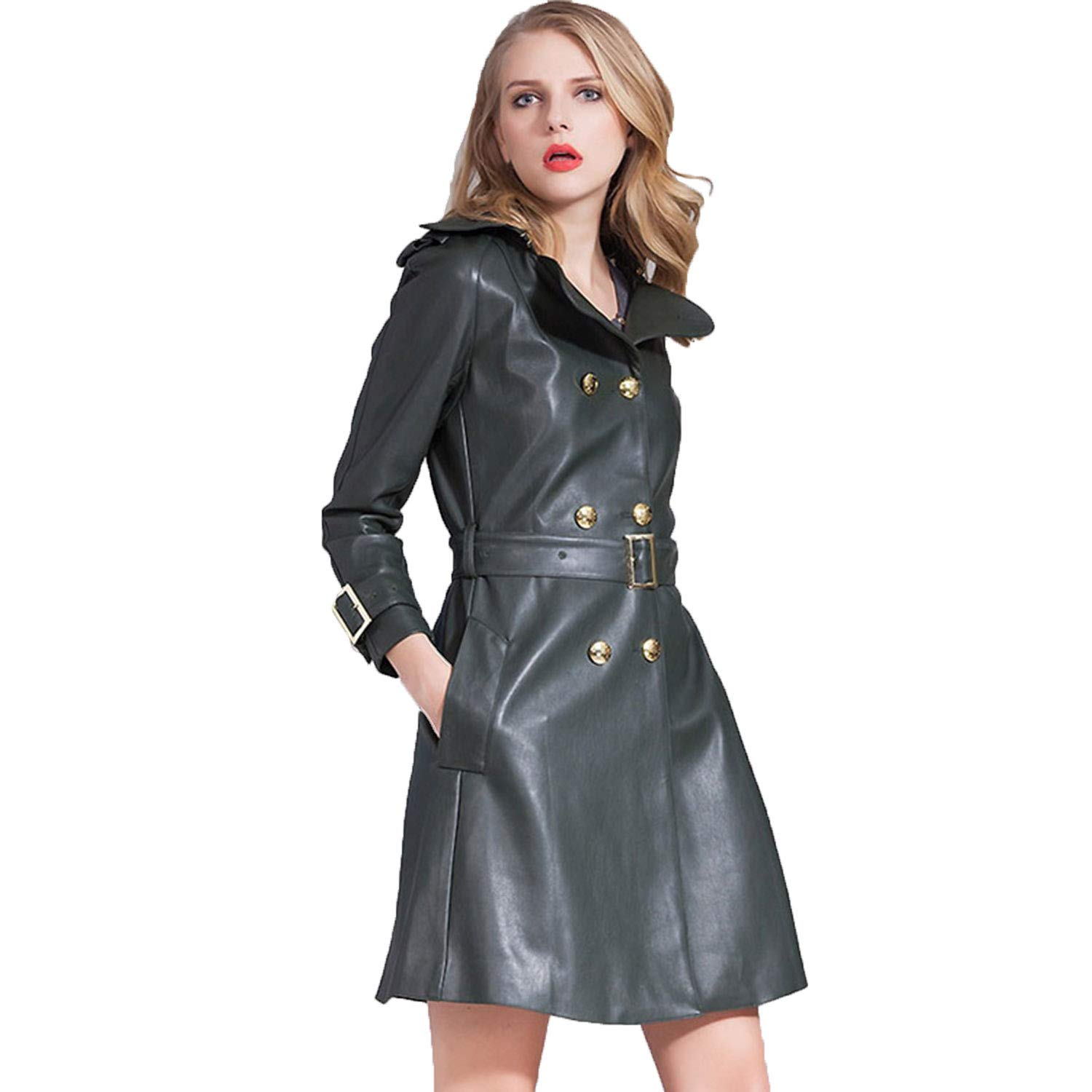 Women's Medium Long Section Leather Jacket,Autumn Winter British Style Lapel Coat with Belt Ideal for Ladies Girls Shopping Casual Daily Outwear