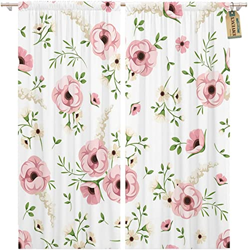 Emvency Thermal Blackout Curtains/Drapes Set of 2 Panels 52″ W x 96″ L Green Floral Pink and White Flowers On Small Rose Window Curtains