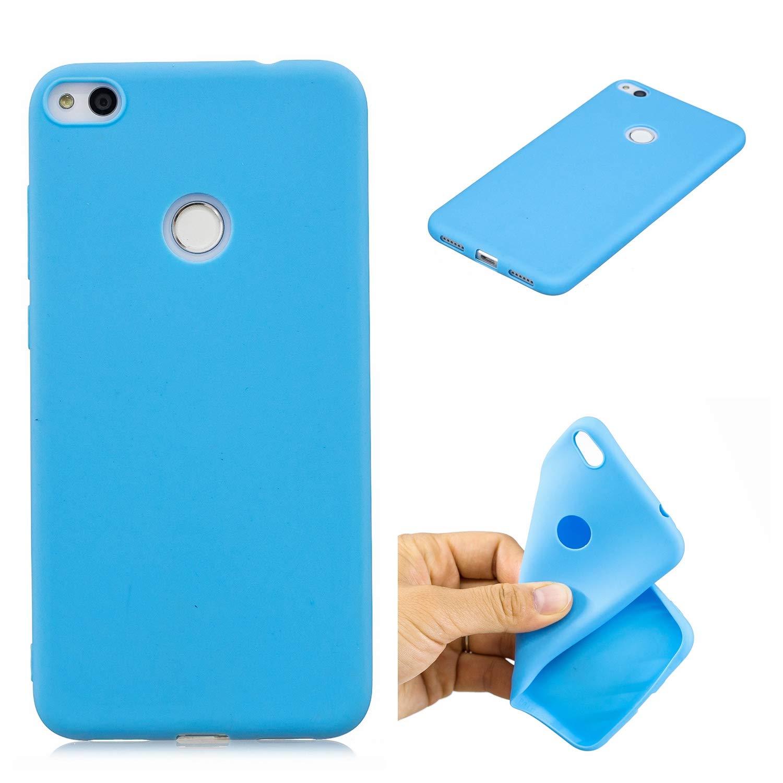 Misstars Silikon Hülle für Huawei P8 Lite 2017, Soft Flex TPU Case im Candy Design Ultra Dünn Schutzhülle Matt Weich Handyhülle Anti-Stoß Kratzfeste für Huawei P8 Lite 2017, Blau
