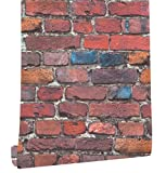 HaokHome 7701 Brick Wallpaper Rolls Red/Peacock blue/Grey/Black Distressed Murals Home Kitchen Bathroom Decoration 20.8'' x 32.8ft