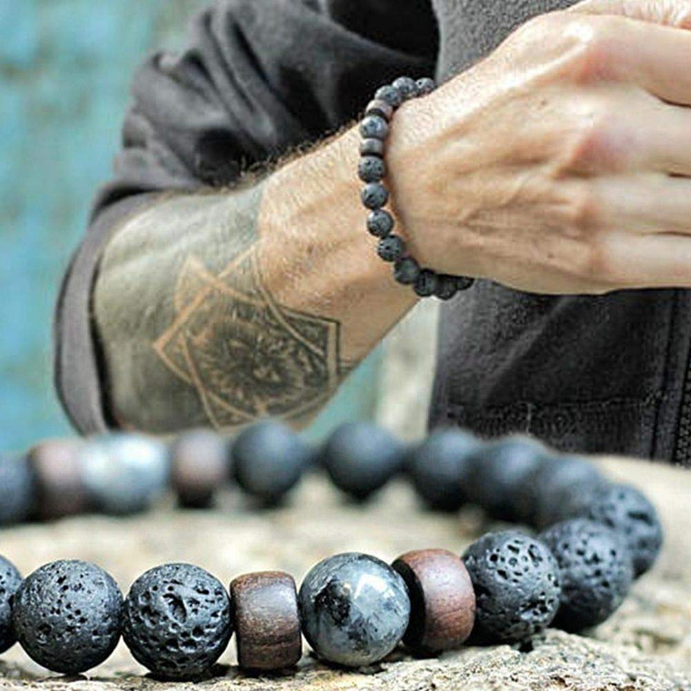 Black Lava Stone 7 Chakra Bracelets 6pcs Mix 8mm Yinyang Rock Bead Elastic Natural Stones Gemstones Oil Diffuser Yoga Beads Bracelets for Men Women Girls Jewelry