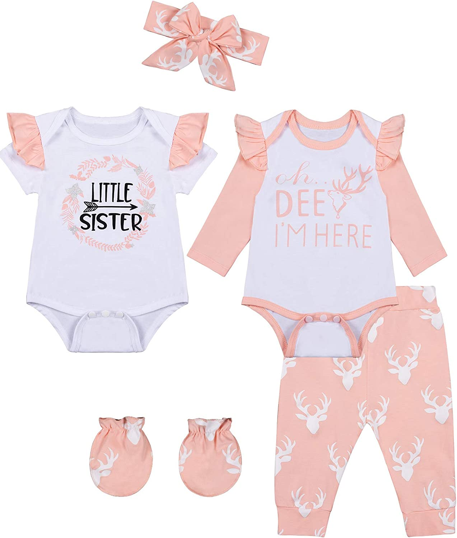 bakjuno Baby Girl Outfit Daddy's Little Girl Clothing Newbron Deer Pant Set
