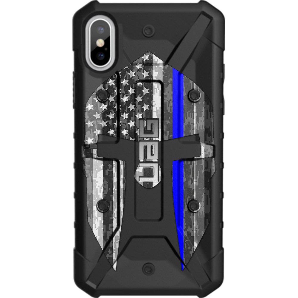 Limited Edition - Customized Designs by Ego Tactical Over a UAG- Urban Armor Gear Case for Apple iPhone X/Xs (5.8'')- Black, Spartan Reverse (Thin Blue Line Police)