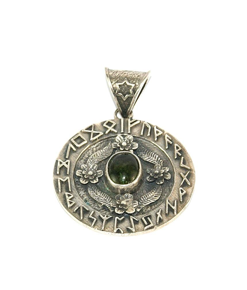 Moldavite Polished Cabochon Sterling Silver Pendant Large Runes Design by Gifts and Guidance