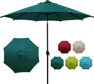 Abba Patio 9ft Patio Umbrella Market Outdoor Table Umbrella with Auto Tilt and Crank for Garden, Lawn, Deck, Backyard & Pool, 8 Sturdy Steel Ribs, Dark Green