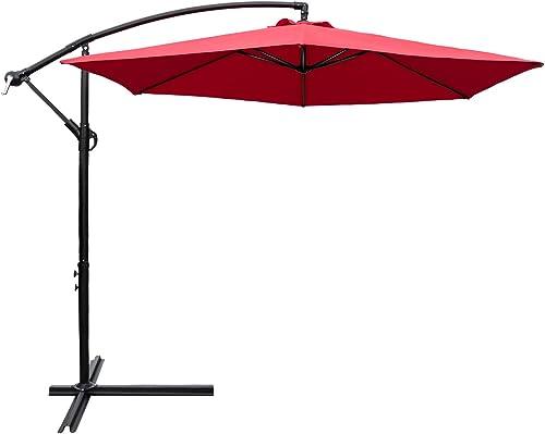 Devoko 10 Ft Patio Offset Cantilever Umbrella Outdoor Market Hanging Umbrella