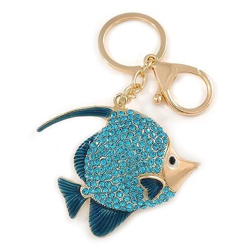 Avalaya - Llavero con diseño de pez esmaltado, Color Azul ...