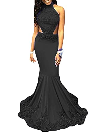 Dressesonline Long Mermaid Prom Dresses Backless Evening Gowns with Appliques 2