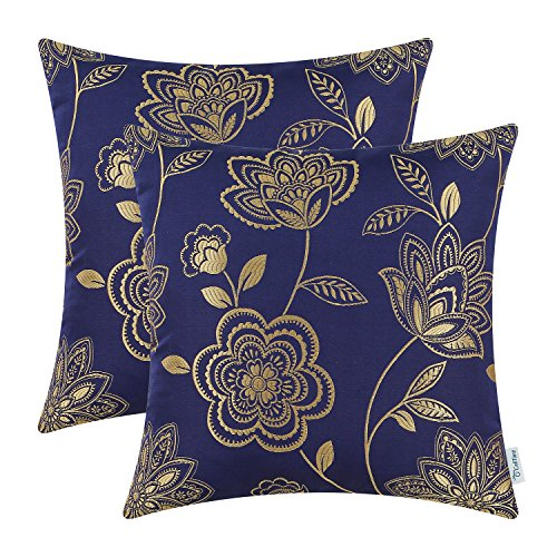 (CaliTime Pack of 2 Cushion Covers Throw Pillow Cases Shells for Couch Sofa Home Decoration Dahlia Floral 18 X 18 inches Navy Blue Gold)