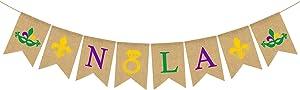 Rainlemon Jute Burlap Nola Banner Mardi Gras Bachelorette Party Hen Party Garland Decoration Supply