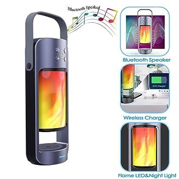 Lámpara De Llama Portátil Bluetooth Altavoz con Qi Wireless ...