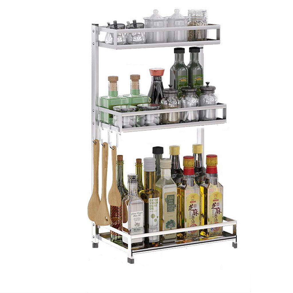 WLNKJ Kitchen Storage Rack Bracket, Floor-Standing 2/3 Layer Seasoning Storage Rack, Stainless Steel Multi-Function Kitchen Seasoning Rack,3layer,34cm