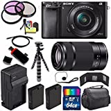 Sony Alpha a6000 Mirrorless Digital Camera with 16-50mm Lens (Black) + Sony E 55-210mm f/4.5-6.3 OSS E-Mount Lens 64GB Bundle 24 - International Version (No Warranty)