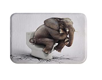 Bon DENGYUE Seating Elephant Bath Rug Mat, Poop Elephant Bathroom Decorative  Floor Flannel Microfiber Carpet 40