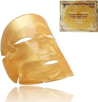 máscara facial de cristal de colágeno dorado