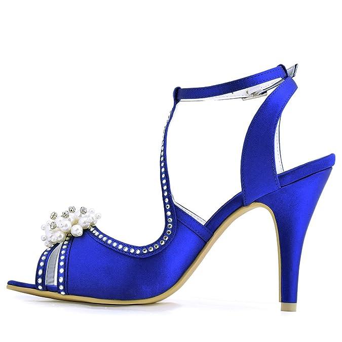 ElegantPark EP11058 Women Peep Toe Pearls Rhinestone Cut outs Satin High  Heels Pumps Wedding Sandals Court Shoes: Amazon.co.uk: Shoes & Bags