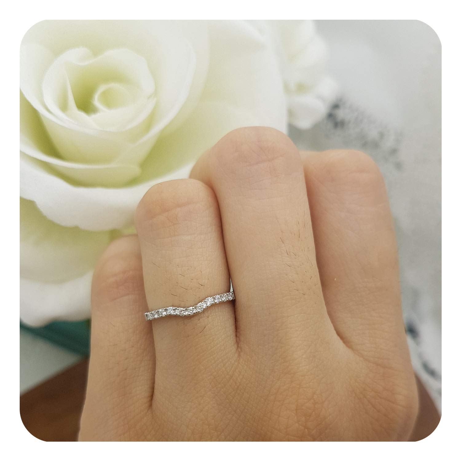 dazzlingjewelrycollection 0.15 Carat Ctw 14K White Gold Over Sterling Silver Round Shaped Diamond Ladies Anniversary Wedding Stackable Contour Guard Band