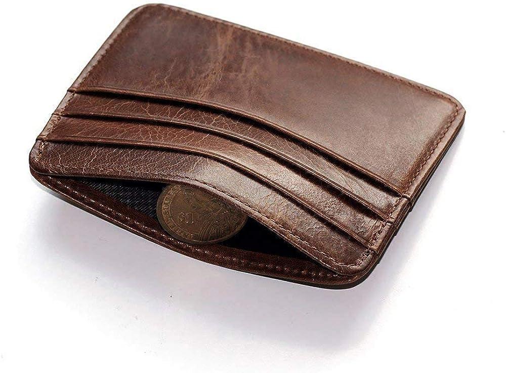 Hibate Mens Leather Credit Card Holder Wallet Case Mens Front Pocket Sleeve