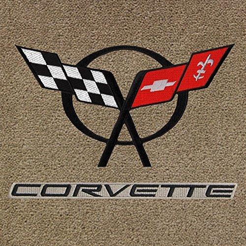 Corvette Car Mats - Lloyd Mats ® - Classic Loop Tan Front Floor Mats For Corvette C5 with C5 Black Logo / Corvette Black on Beige Applique