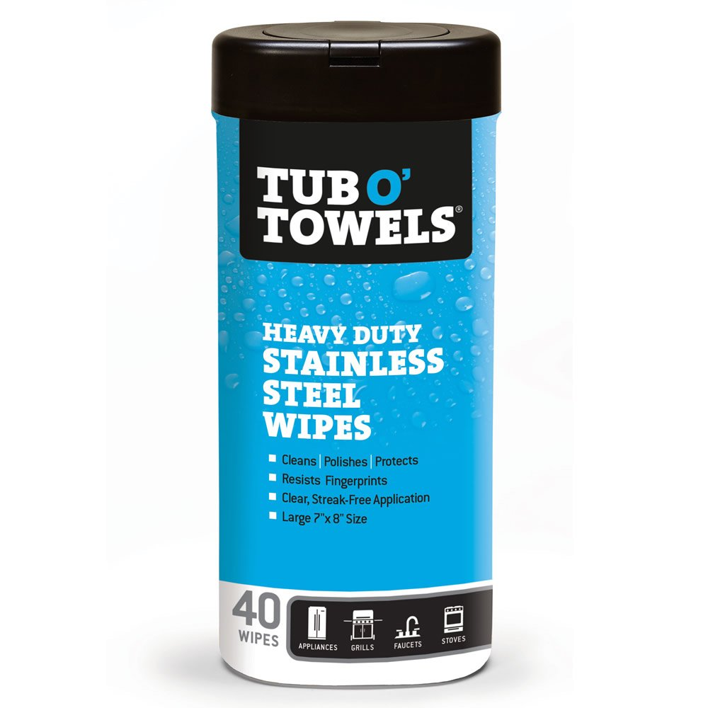 Tub O Towels TW40-SS Stainless Steel Wipes for Cleaning, Polishing, and Protecting (Tub of 40 Wipes)