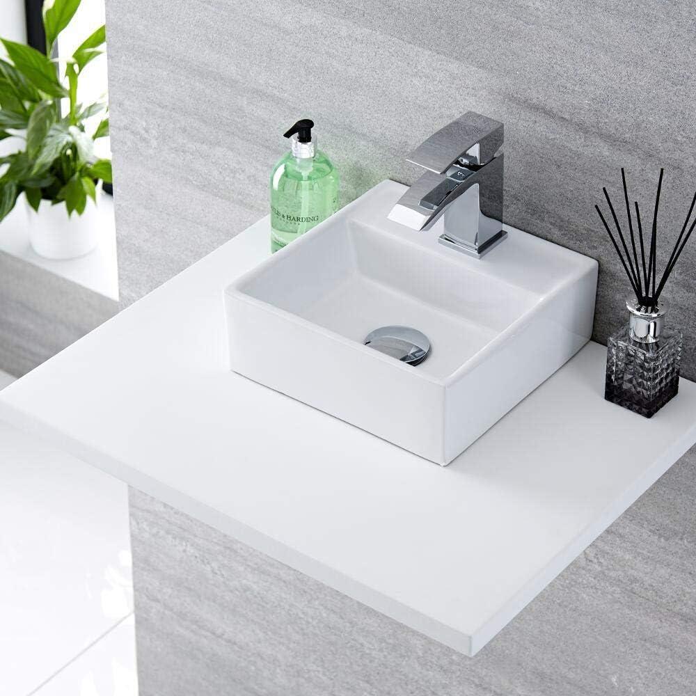 Milano Dalton Wall Hung Counter Top White Ceramic Basin with Wick Mixer Sink Tap