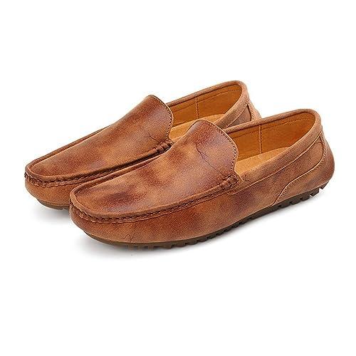 Mocasines de Conducción de los Hombres Mocasines de Barco de Cuero Genuino OX Suela Suave Plana: Amazon.es: Zapatos y complementos