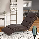 Mellcom Electric Massage Recliner Chair Chaise Longue Heated PU Leather Ergonomic Lounge Massage Recliner with Massage