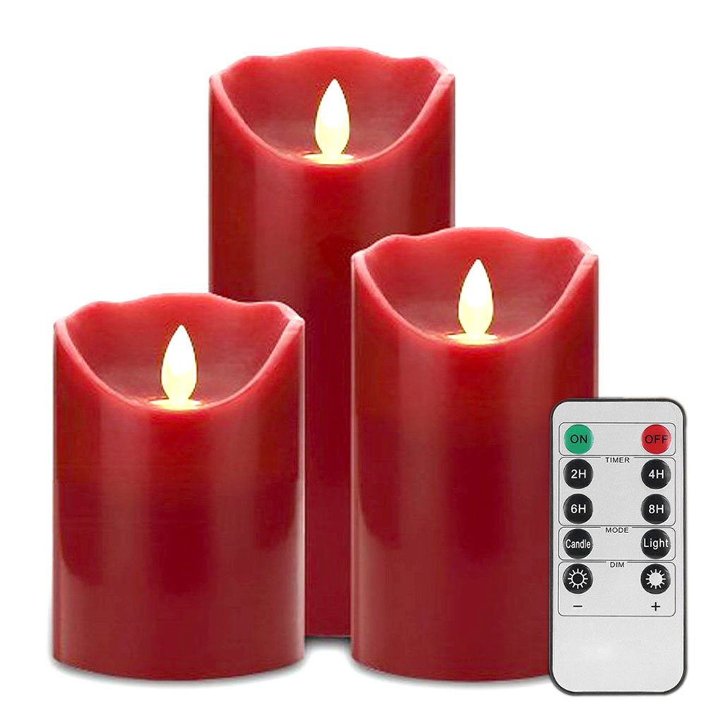 LED Flameless Candle Lights-Glamouric Flickering Real Wax Candle Light 10 Key Remote Control with Timer Pillar Shape Battery Operated Red Christmas Halloween Light(Set of 3)
