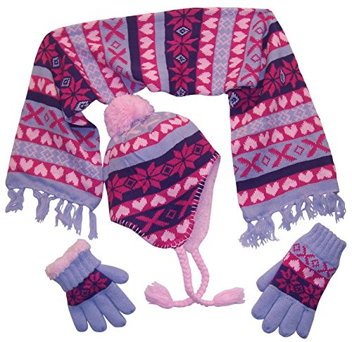 N'Ice Caps Big Girls Sherpa Lined Snowflake Print Knitted 3PC Set (9-12 Years, Pink/Lavender/Fuchsia/Dark Purple)