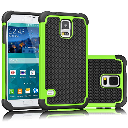 Tekcoo Galaxy S5 Case, [Tmajor] Sturdy [Green/Black] Shock Absorbing Hybrid Rubber Plastic Impact Defender Rugged Slim Hard Case Cover Bumper for Samsung Galaxy S5 S V I9600 GS5 All Carriers