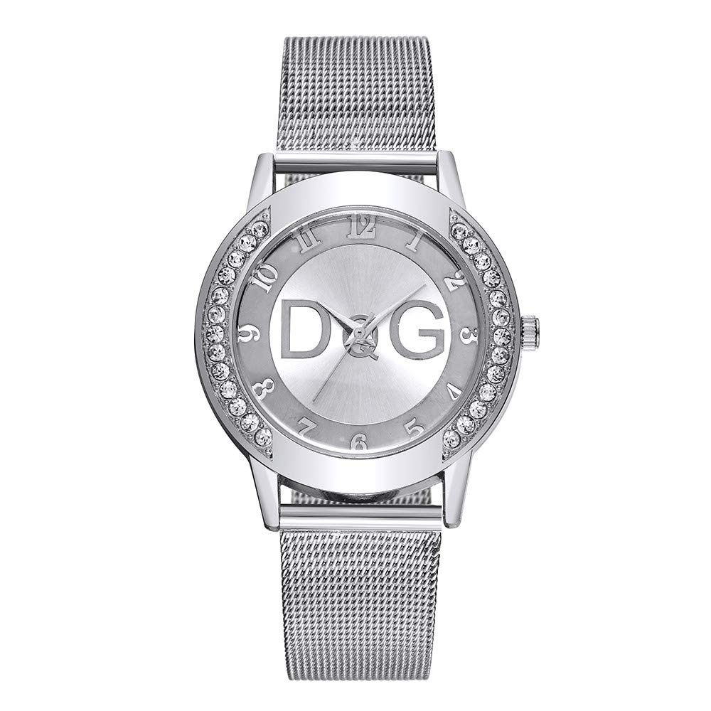 SuperUS Simple Lady Mesh Strap Watch Rhinestone Case Watch Pure Color Strap -Crystal Stainless Steel Analog Quartz Wrist Watch Bracelet (Free Size, Silver)