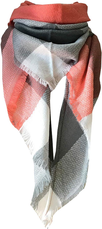 Wander Agio Womens Warm Scarf Triangle Shawls Large Scarves Stripe Plaid Fichu Big Plaid Grey Pink 11 at  Women's Clothing store