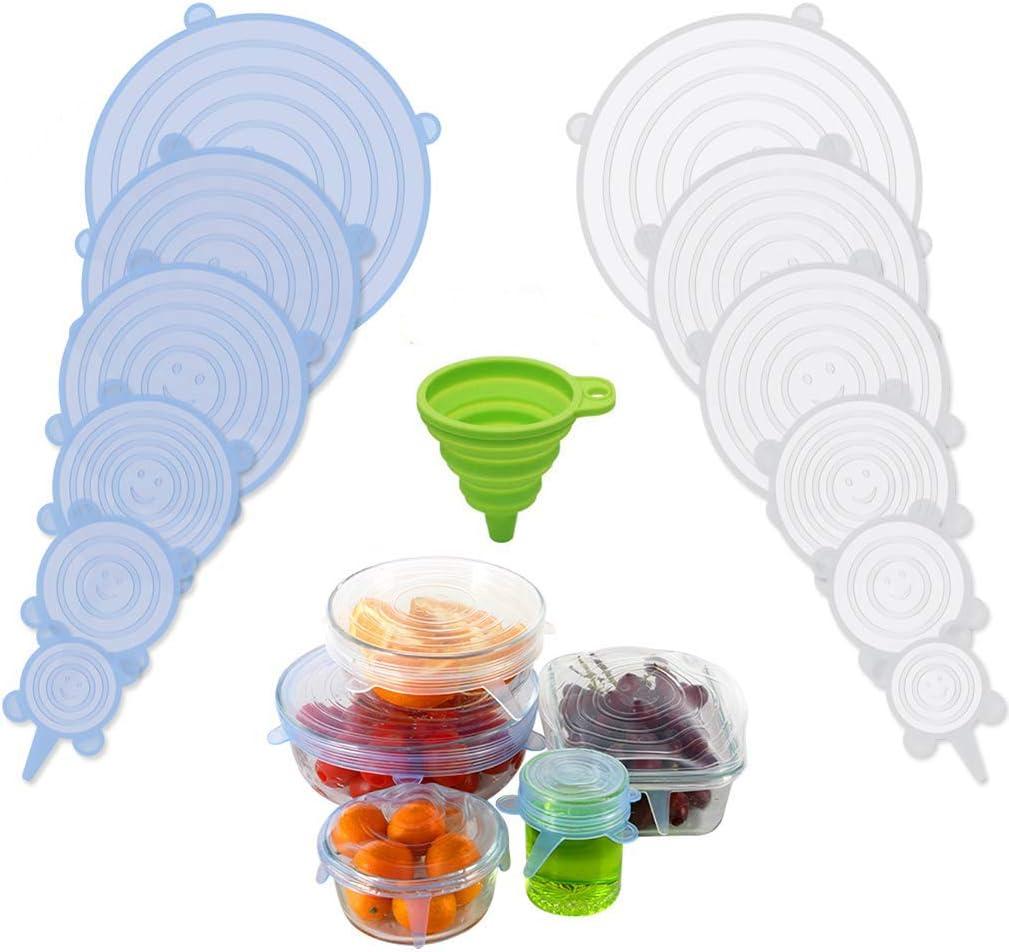 Reutilizable y Extensible sin BPA ROTTAY Tapa de Silicona para Alimentos 12 Unidades de Diferentes tama/ños Tapa para Tazas para ollas y congeladores Tapas de Silicona el/ásticas
