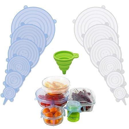 Riutilizzabile ed Espandibile Coperchio per Tazza per Pentole e Freezer Unique Store Coperchi in Silicone Stretch BPA Free 18 Pack di Diverse Dimensioni Coperchio in Silicone per Alimenti