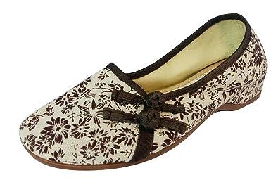 SMITHROAD Damen/Mädchen Slipper Halbschuhe Espadrilles aus Stoff mit Stickerei Blockabsatz Schlupf Sandalen 01 Braun Gr.41 5dAn6c