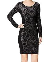 Calvin Klein Womens Large Scoop Neck Sweater Dress Black L