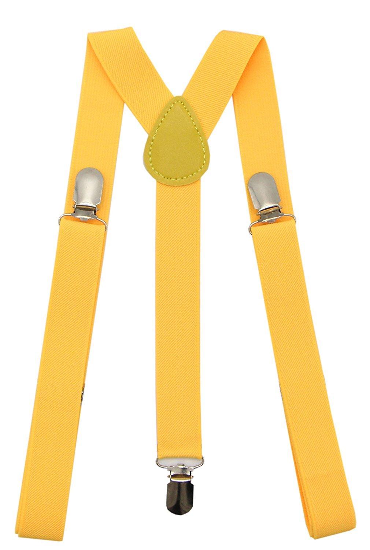 Mens Women Suspenders 1 Inch Elastic Adjustable Y-Back Clip-on Suspender Braces Royal Blue