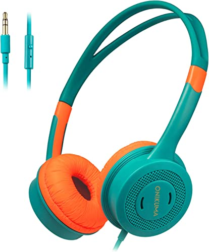Kids Headphones, STOON 3.5mm Jack Wired Cord On-Ear Headset for Kids Boys Girls Teens, Lightweight Headset Over Ear for School Travel Kindle Tablet, 85dB Volume Limited, Orange Green