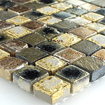Marmor Stein Naturstein Mosaik Fliesen Gold Braun Amazonde Baumarkt - Mosaik fliesen braun gold