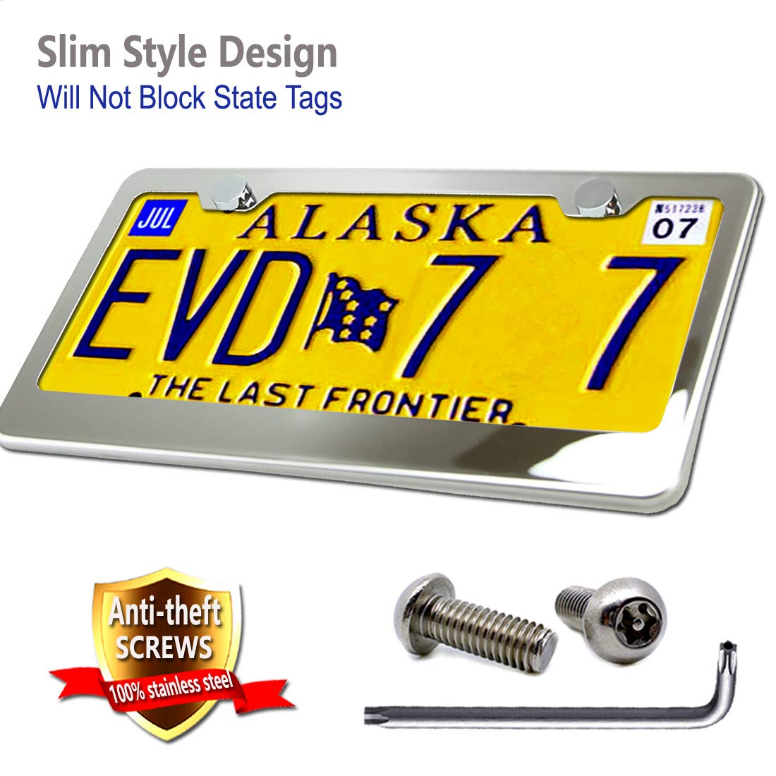 Aootf License Plate Frame-304 High-end Stainless Steel License Plate Frames Mirror Finish and License Plate Screws Anti Theft,Screws Caps-21Set,Practical Gifts
