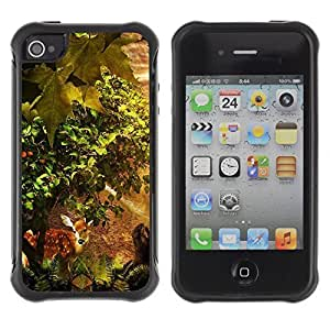 Hybrid Anti-Shock Defend Case for iPhone 4 4S / Cute Forrest Deer
