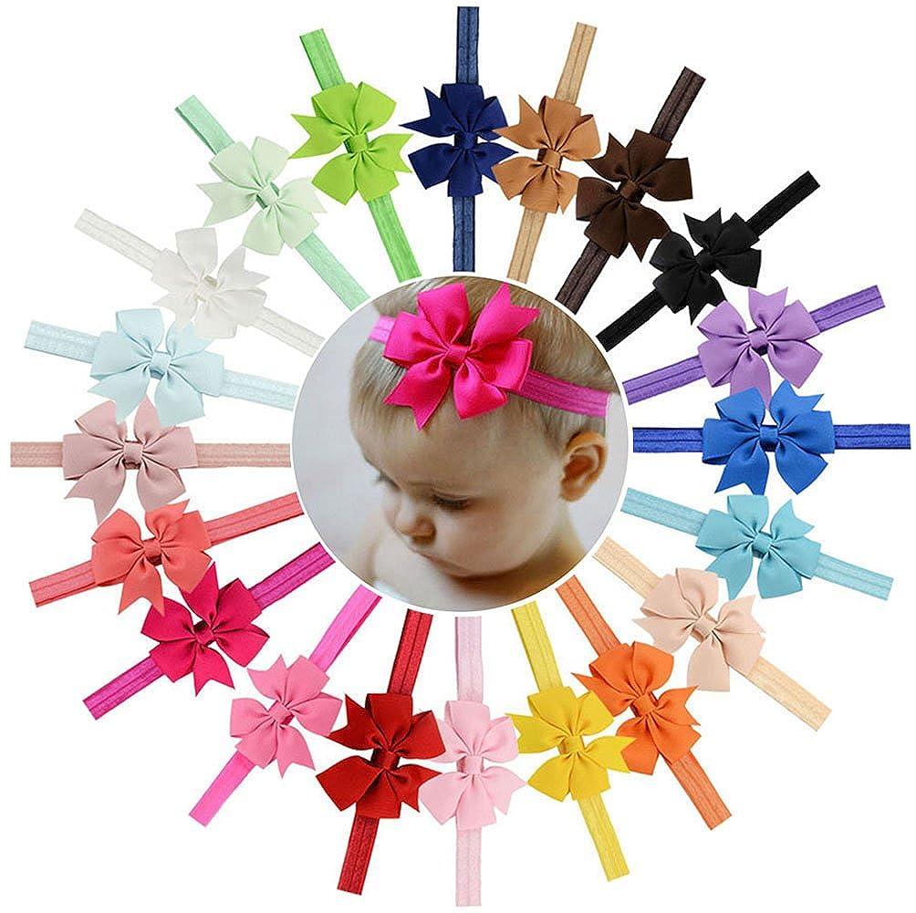 Fascia per Capelli Morbida Elastica di Bowknot delle Fasce per i Bambini Infant 20pcs del bambino