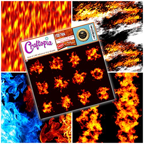 Craftopia's Fire/Flames Printed Pattern Self Adhesive Craft Vinyl Sheets | 4+1 Assorted Vinyl Pack for Cricut, Silhouette Cameo, Craft Cutters, Printers, Letters, Decals, Stickers by Craftopia USA