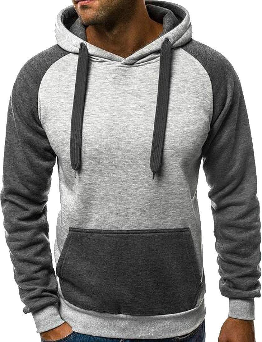 Smallwin Mens Vogue Hooded Pocket Spell Color Pullover Sweatshirts